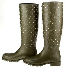 NEW YSL SAINT LAURENT OLIVE GREEN CRYSTAL STUDS TALL CLASSIC RUBBER BOOTS 38