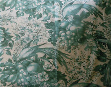 Antique Vtg. French Green Bird Fruit Floral Cotton Toile Fabric