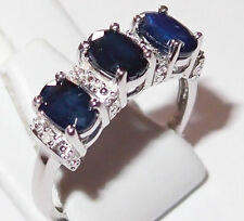 Diffused Sapphire and Diamond ring in rhodium plated Sterling Silver, Size M.
