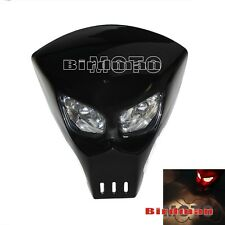 Streetfighter Custom skull Alien Predator Twin Dual Bulb Headlights Motorcycle
