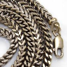 "Heavy 14K White Gold Spiga Woven Wheat Chain Link Necklace 27.5""  3.5mm   QZ"