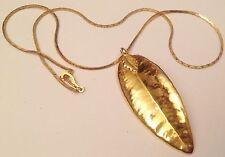pendentif feuille doré a l'or fin 24k chaine maille plate déco 4418