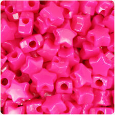 250 Magenta Pink Neon Bright 13mm Star Plastic Pony Beads Made in the USA