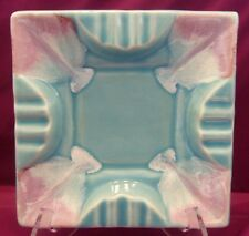 Vintage R.R.P.Co. Roseville, O. U.S.A. Ashtray Pink Turquoise Drip Square Heavy