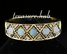 R275 Genuine 9ct Yellow Gold SOLID Natural OPAL Diamond Eternity Ring size P