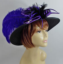 BLACK & PURPLE LARGE HAT NET OSTRICH PLUMES LADIES OF SOCIETY DERBY CHURCH