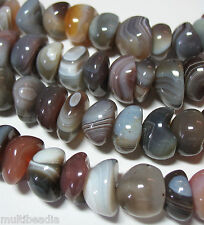 "AAA Botswana Agate 15mm Half-Round Nugget Beads 16"" Natural Untreated Color"