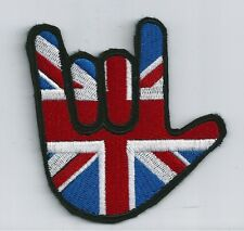 SIGN LANGUAGE 'I LOVE YOU' SIGN. ASL WITH UNION JACK. BADGE/ PATCH. SEW ON