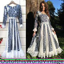 Vtg 70s PRAIRIE DRESS blue white FLORAL LACE gunne sax inspired BOHEMIAN BOHO M