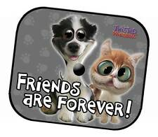 TWISTED WHISKERS CAR SIDE WINDOW MESH SUN SHADES - FRIENDS ARE FOREVER