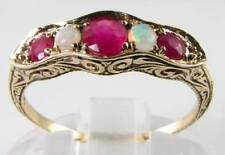 LOVELY TWIST 9K  VICTORIAN INS RUBY & OPAL HALF ET RING