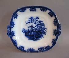 Flow Blue Amoy by Davenport Handled Cake Plate