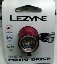 LEZYNE FEMTO FRONT LED LIGHT RED ALLOY HANDLEBAR / BAR END MOUNTING