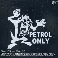Petrol Only Car Sticker Funny Reflective Cartoon Taz Decal Best Gift