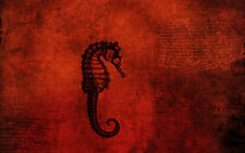 A4 Poster – Seahorse Fossil on a Red Background (Picture Print Minimal Art)