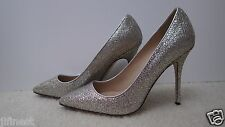 New with Box Women J.Crew Roxie Glitter Pumps, Gold Silver, Size 8