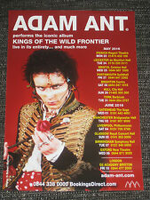 ADAM ANT MINI FLYER / ADVERT FOR KOTWF LIVE TOUR 2016 kings of the wild frontier