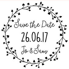 Personalised Laser Rubber Stamp - Save the Date: Dainty Flowers