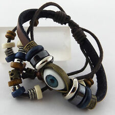 A694 GENUINE REAL EVIL EYE CHARM LEATHER STRAND ASSORTED BEAD BRACELET BANGLE