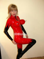 100%Latex Rubber Red and Black Bodysuit Sexy Catsuit Tights Suit Size XS~XXL