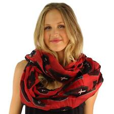Coffin RIP Goth Halloween Soft Light Wide Loop Circle Infinity Scarf Wrap Red