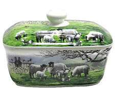 Farmyard Country Sheep Design Ceramic Butter Dish Kitchen Accessories LP92411