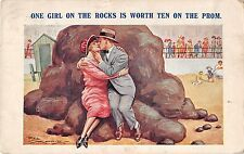 POSTCARD   COMIC  One girl on the rocks is worth ten on the prom
