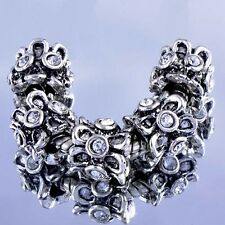 Silver-P Metal Large Hole Rhinestone For Bracelet European Beads Lot Charm
