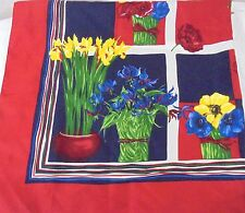 Carlisle Italy 100% Silk Scarf Multi-Color Floral Daffodils Poppies Springtime