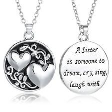 Fashion Family Sister Best Friends Double Heart Two-sided Pendant Necklace