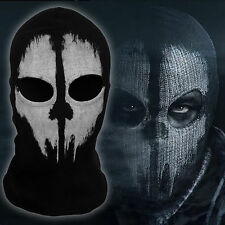 GHOST 2 Hole Face Ninja Fancy Dress Novelty Costume Mask Balaclava Hood- Senior