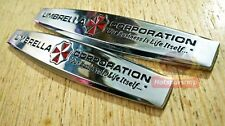 2pcs 3D metal UMBRELLA CORPORATION Resident Evil logo Sticker side Emblem Badge
