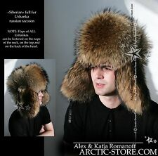 Luxury Russian Raccoon Full Fur Shapka Ushanka Hat Siberian Type for Real Men