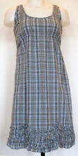 Converse One Star Blue and Tan Plaid Ruffled Hem Fully Lined Cotton Sun Dress 2