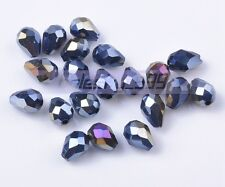 50pcs 7x5mm Teardrop Faceted Crystal Glass DIY Loose Spacer Beads Free Shipping