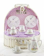Delton Products Porcelain Bird House w/Flowers Tea Set for Two in a White Basket