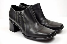 Clarks Ankle Boots 8 Booties Women Shoes Black Leather Heel Square Toe Slip On