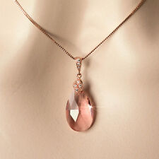 Handmade Blush Soft Peach Pear Crystal & Rose Gold Necklace (Sparkle-2105)