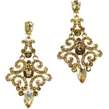 """Floral Dangle Drop Long Earrings Jewelry Brown Crystal VTG Design Gold Tone 2.4"""""""
