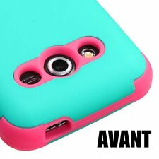 For Samsung Galaxy Avant G386T -HARD&SOFT RUBBER HYBRID CASE TURQUOISE BLUE PINK