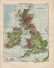 1902 MAP ~ BRITISH ISLES PHYSICAL LAND HEIGHTS MOUNTAINS LOWLANDS PLATEAU