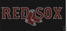 Bling rhinestone Red Sox heat transfer decal iron on