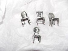 4 small Metal Fancy Chairs Table Name Place Card Holders