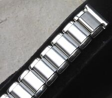 Polished & satin steel vintage watch band 16mm ends fixed lugs or spring bars OK