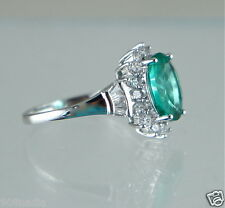 WOMAN'S RING SILVER PLATED,TURQUOISE GREEN OVAL RHINESTONE SOLITAIRE SIZE 9 1/4