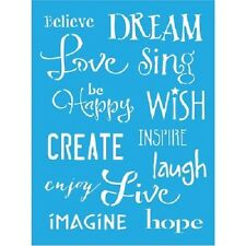 "DecoArt Americana Inspiration Stencil 6""x8"" love dream create craft sentiments"