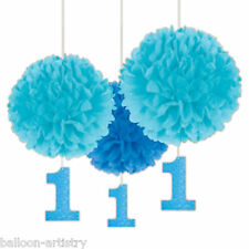 3 Blue 1st First Birthday Boy Party Fluffy Paper Ball Hanging Decorations