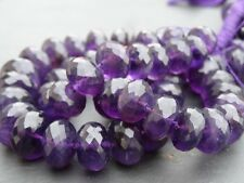 "LARGE HAND FACETED AMETHYST rondelle beads, 11mm - 16mm, 18"", 580ctw (017)"