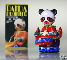 MS566 Retro Tin Robot Drumming Panda Vintage Reproduction NEW Windup toy