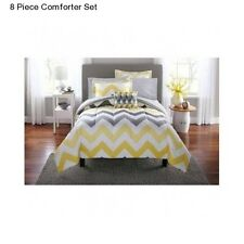 New Yellow Grey King  Size Comforter Set Bedding Bedspread With Sheets Gray NWT